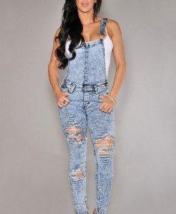 A444-444 Salopeta casual din imitatie jeans - Salopete lungi - Haine > Haine Femei > Salopete > Salopete lungi