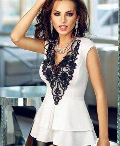 BL295-2 Top elegant cu peplum si model brodat in zona bustului - Topuri - Haine > Haine Femei > Bluze > Topuri