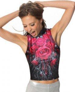 BL508 Top fara maneci si cu model trandafiri - stil gothic - Topuri - Haine > Haine Femei > Bluze > Topuri