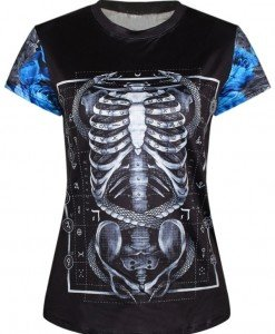 BL582 Tricou casual cu model anatomic schelet - Altele - Haine > Haine Femei > Costume Tematice > Altele