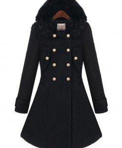 BL630-1 Palton elegant cu gluga imblanita - Geci si Paltoane - Haine > Haine Femei > Geci si Paltoane
