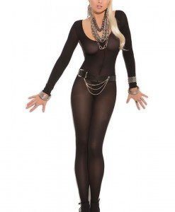 BS224-1 Lenjerie sexy tip bodystocking cu maneci lungi si decolteu rotund - Bodystockings