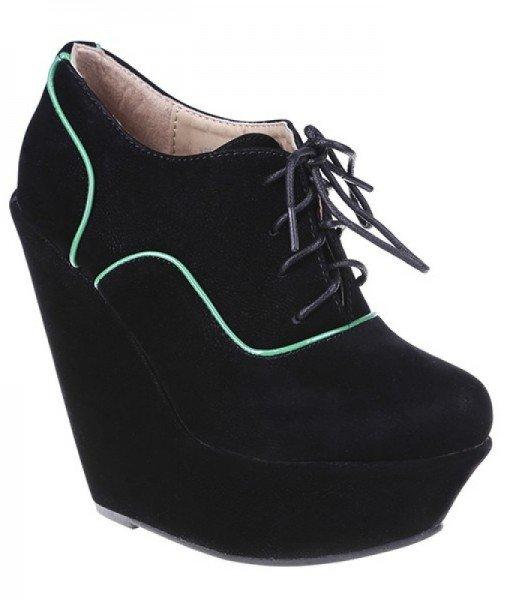 Botine Adnana negre – Pantofi > Pantofi cu platforma –