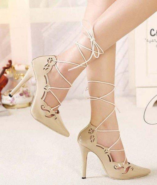 CH2283-15 Pantofi cu toc inalt si prindere cu sireturi – Pantofi Dama – Incaltaminte > Incaltaminte Femei > Pantofi Dama