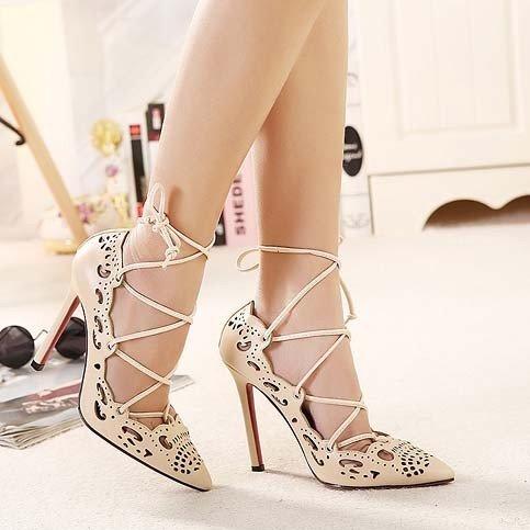 CH2284-15 Pantofi cu toc inalt si prindere cu sireturi – Pantofi Dama – Incaltaminte > Incaltaminte Femei > Pantofi Dama