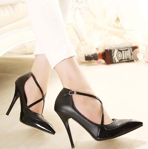 CH2293-1 Pantofi stiletto eleganti cu barete in X