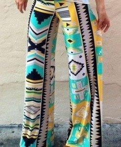 CL430 Pantaloni largi de vara cu print egiptean Palazzo - Pantaloni Lungi - Haine > Haine Femei > Pantaloni Dama > Pantaloni Lungi