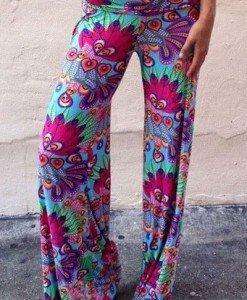 CL433 Pantaloni largi de vara cu print colorat de paun