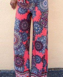 CL437 Pantaloni largi de vara cu talie inalta model palazzo - Pantaloni Lungi - Haine > Haine Femei > Pantaloni Dama > Pantaloni Lungi