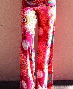 CL438-3 Pantaloni largi de vara cu print colorat model preppy palazzo - Pantaloni Lungi - Haine > Haine Femei > Pantaloni Dama > Pantaloni Lungi
