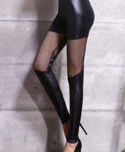 CL482-1 Colanti sexy din imitatie piele si decupaje din plasa semitransparenta - Colanti - Haine > Haine Femei > Costume latex si PVC > Colanti