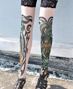 F125 Ciorapi treisfert cu tatuaj - Ciorapi cu tatuaj - Haine > Haine Femei > Ciorapi si manusi > Ciorapi cu tatuaj