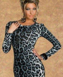 H176-2 Rochie scurta cu model animal print si maneci lungi - Rochii scurte - Haine > Haine Femei > Rochii Femei > Rochii de club > Rochii scurte