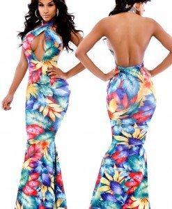 K311 Rochie lunga cu model tropical floral si spatele gol - Rochii de vara - Haine > Haine Femei > Rochii Femei > Rochii de vara