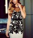 L377-1122 Rochie eleganta cu spatele gol si model floral - Rochii scurte - Haine > Haine Femei > Rochii Femei > Rochii de seara > Rochii scurte