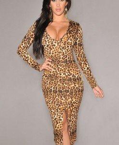 M305-99 Rochie sexy cu model leopard si maneci lungi - Rochii midi - Haine > Haine Femei > Rochii Femei > Rochii de zi > Rochii midi