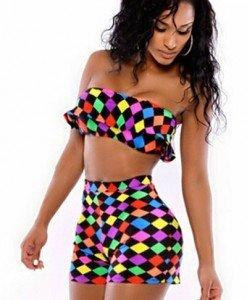 N338 Compleu sexy top si pantaloni scurti cu model colorat - Top si pantaloni - Haine > Haine Femei > Compleuri > Top si pantaloni