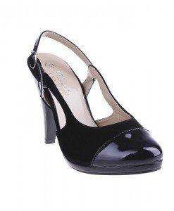 Pantofi Dolores negru/sued/pat - Home > Pantofi -