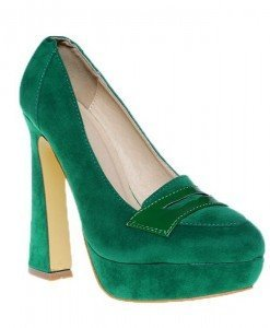 Pantofi platforma Dominique verzi - Home > Pantofi -