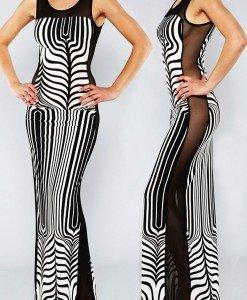 R399-1122 Rochie lunga sexy cu plasa pe lateral si print abstract - Rochii lungi - Haine > Haine Femei > Rochii Femei > Rochii de seara > Rochii lungi