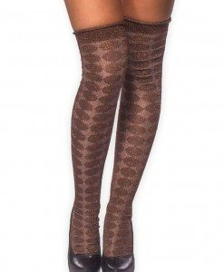 STK231-177 Ciorapi treisfert cu model si insertii aurii - Ciorapi dama - Haine > Haine Femei > Ciorapi si manusi > Ciorapi dama