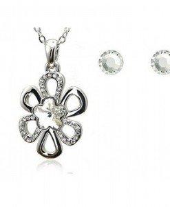 Set de bijuterii cu cristale Swarovski Simple Flower - Genti > Bijuterii -