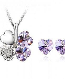 Set de bijuterii cu cristale Swarovski Trifoi norocos - Tanzanite - Genti > Bijuterii -