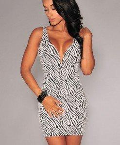 T347-1122 Rochie sexy cu model zebra si decolteu adanc - Rochii cu spatele gol - Haine > Haine Femei > Rochii Femei > Rochii de club > Rochii cu spatele gol