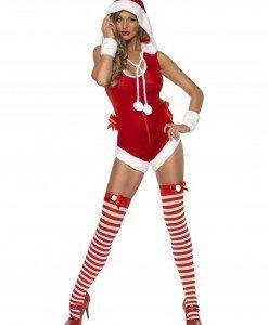 XM314 Costum tematic Craciunita tip body cu gluga - Costume de craciunita - Haine > Haine Femei > Costume Tematice > Costume de craciunita