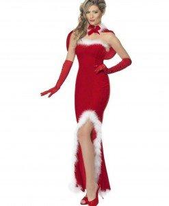 XM321-3 Costum tematic Craciunita tip rochie lunga cu crapatura in fata - Costume de craciunita - Haine > Haine Femei > Costume Tematice > Costume de craciunita