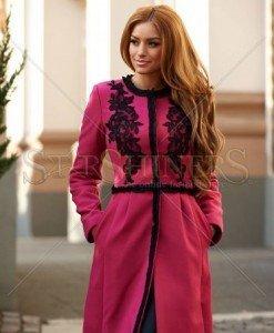 Palton LaDonna Embroidered Fall Pink - Paltoane -