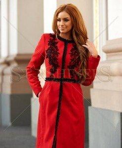 Palton LaDonna Embroidered Fall Red - Paltoane -