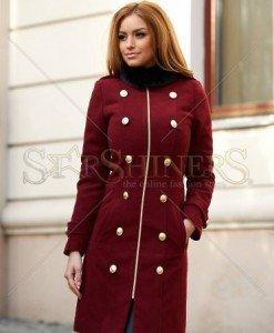 Palton LaDonna Modern Style Burgundy - Paltoane -