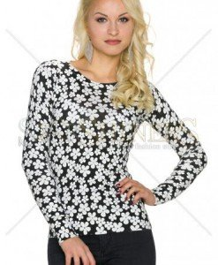 Pulover Abstract Daisies Black - Pulovere -