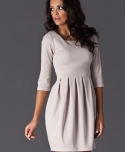 Beige Hourly Bodice Hippie Pleat Dress - Dresses -
