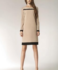 Beige Stylish Sunken Office Shift Dress - Dresses -