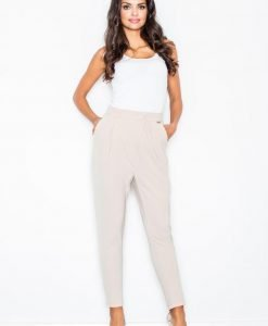 Beige Tapered Trousers with Fitted Waist - Trousers -