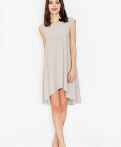 Beige asymmetrical dress with back seam zipper - Dresses -