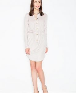Beige button down shirt dress - Dresses -