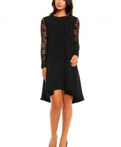 Black Asymmetrical Hemline Lace Sleeves Dress - Dresses -