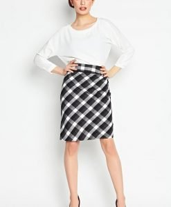 Black Checkered Pencil Skirt - Skirts -