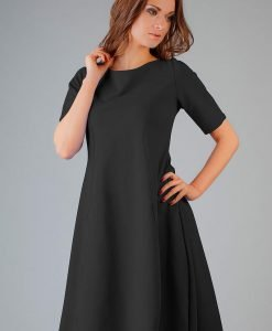 Black High Fad Dress with Dipped Hem - Dresses -
