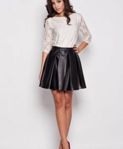 Black Leather Pleated Skirt with Back Seam Zip Fastening - Skirts -