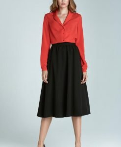 Black Retro Round Pleat Ring Skirt - Skirts -