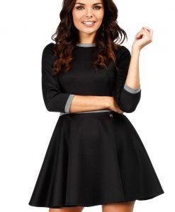 Black Retro Style A-line Mini Dress - Dresses -