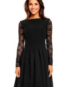 Black Sabrina Collar Lacey Pleat Dress - Dresses -