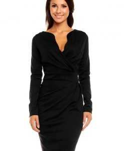 Black Scaloop Neckline Wrap Style Evita Dress - Dresses -