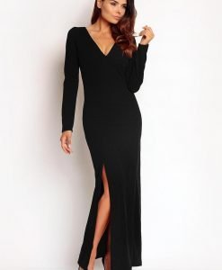 Black Slit Maxi Dress with V-Neckline - Dresses -
