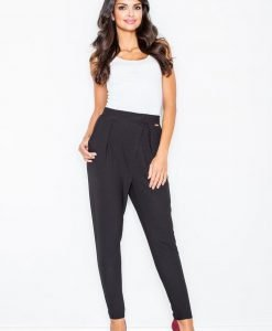 Black Tapered Trousers with Fitted Waist - Trousers -