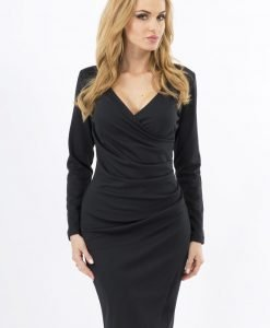 Black Wrap Around Back Seam Dress with V-Neckline - Dresses -